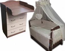 Кроватка маятник, ортопедический матрас, постель