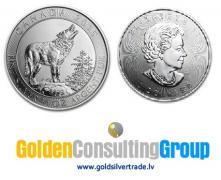 Серебряная монета Канадский серый волк 2015